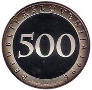 500 Tolarjev (First Railway in Slovenia) – obverse
