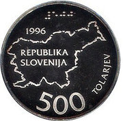500 Tolarjev (Independence) – obverse