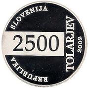 2500 Tolarjev (Soccer World Championship) – obverse
