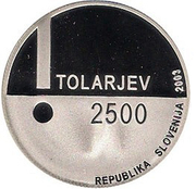 2500 Tolarjev (European Year of the Disabled) -  obverse