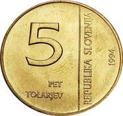 5 Tolarjev (Monetary Institute of Slovenia) – obverse