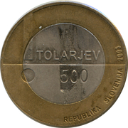 500 Tolarjev (European Year of the Disabled) – obverse