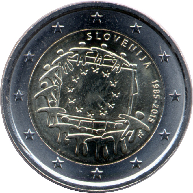 EU flag 30 2 € common commemorative euro coin 2015 ESTONIA