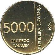5000 Tolarjev (Monetary Institute of Slovenia) – obverse