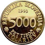 5000 Tolarjev (Academia Operosorum Labacensium) – obverse