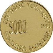 5000 Tolarjev (Plebiscite on Independence) – obverse