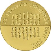 20 000 Tolarjev (35th  Chess Olympiad) -  reverse