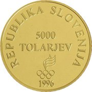 5000 Tolarjev (Olympics Centennial) -  obverse