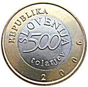 500 Tolarjev (250th Birthday of Anton Tomaž Linhart) – obverse