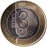 3 Euro (World Book Capital, Ljubljana) -  obverse