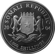 1000 shillings (Elephant  Standing) – obverse