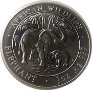 100 shillings (Silver Mother Elephant and baby) – reverse