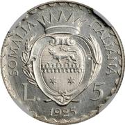 5 Lire - Vittorio Emanuelle III (Prova di stampa) – reverse