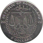 5 Dollars (Year of the Dragon) – obverse