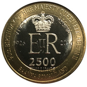 2500 Shillings (Elizabeth II 90th Anniversary -  Queen of St. Kitts and Nevis) – obverse