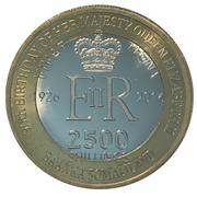 2500 Shillings (Elizabeth II 90th Anniversary -  Queen of Jamaica) – obverse