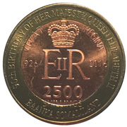 2500 Shillings (Elizabeth II 90th Anniversary -  Queen of South Africa) – obverse