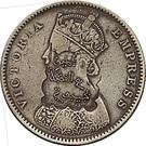 Indian 1/2 Rupee counterstamped (Victoria) – obverse