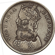 Indian 1/2 Rupee counterstamped (Victoria) – obverse