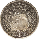 Indian 1/2 Rupee counterstamped (Victoria) – reverse