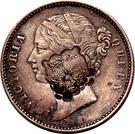 Indian Rupee counterstamped (Victoria) – obverse