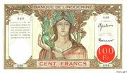 100 Francs (red overprint) – obverse