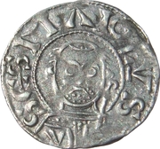 Anonymous denier (crosier to right) – obverse