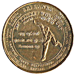 "Sri Lanka 5 rupees 2007 km#173 /""Cricket World Cup/"" UNC"