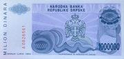 1,000,000 Dinara (Republika Srpska) – reverse