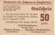 50 Heller (St. Johann in Engstetten) – reverse