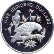 100 Dollars - Elizabeth II (Amazon Parrots) -  reverse