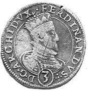 3 Kreuzer - Ferdinand II Archduke (Graz) -  obverse