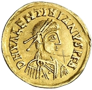 Tremissis (in the name of Valentinian III) -  obverse
