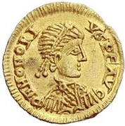 Tremissis (in the name of Honorius) -  obverse