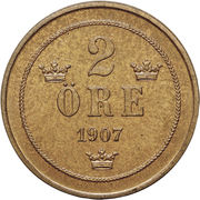 2 Öre - Oscar II -  reverse