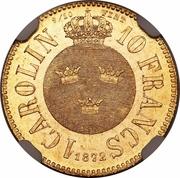1 Carolin / 10 Francs - Carl XV – reverse