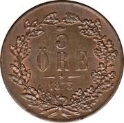 5 Öre - Oscar II – reverse