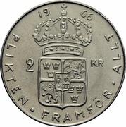2 Kronor - Gustaf VI Adolf – reverse