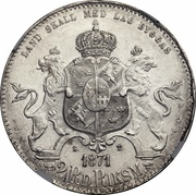 2 Riksdaler Riksmynt - Carl XV (Small head, large date) – reverse