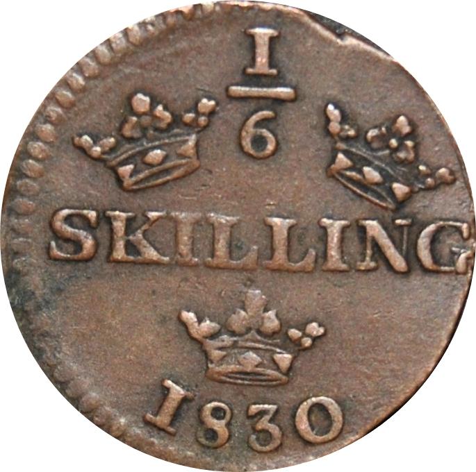 SWEDEN Oscar I Copper 1849 1/6 Skilling Mintage-536,544