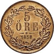5 Öre - Oscar I – reverse