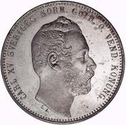 2 Riksdaler Riksmynt - Carl XV (Big head; small date) – obverse