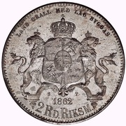 2 Riksdaler Riksmynt - Carl XV (Big head; small date) – reverse