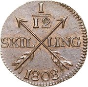 1/12 Skilling - Gustav IV Adolf (Avesta mint) – reverse