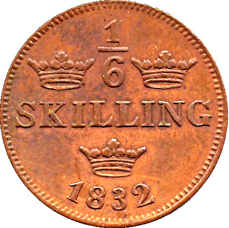 SWEDEN 1/6 skilling 1830 KM625 Cu Carl XIV 2-yr type