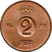 2 Öre - Gustaf VI Adolf -  reverse
