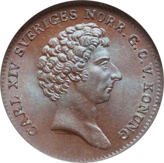 SWEDEN Carl XIV Johan 1832 1/6 Skilling Naked bust