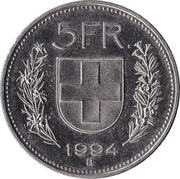 5 Francs (Copper-nickel) -  reverse