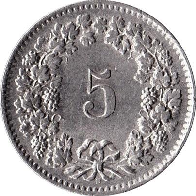5 centimes t te de libertas cupronickel suisse numista. Black Bedroom Furniture Sets. Home Design Ideas