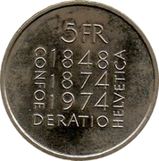 5 Francs (Revision of Constitution) -  reverse